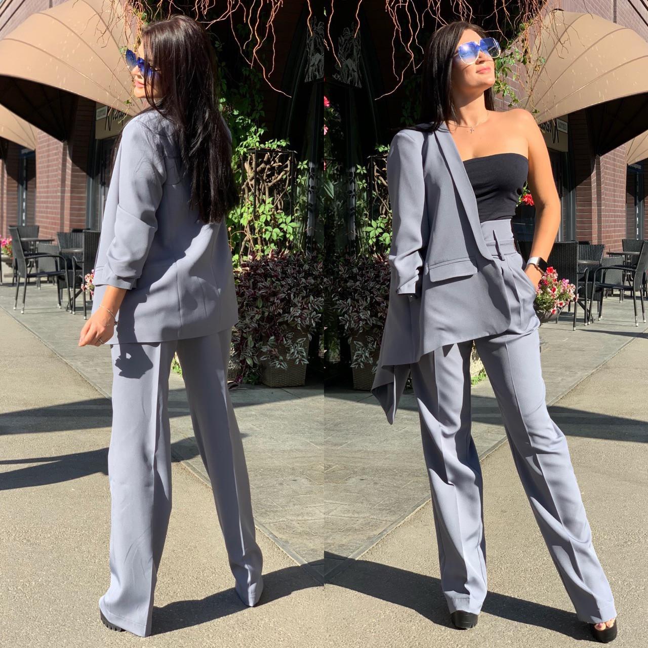 Женский брючный костюм с брюками клеш с завышенной талией и пиджаком 58kos137