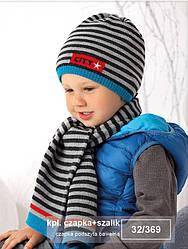 Комплект зимний в полоску City: шапка и шарф для мальчика (AJS, Польша)