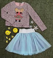 Комплект нарядный юбка+кофта, Ричи, размер 128-152, персик+голубой