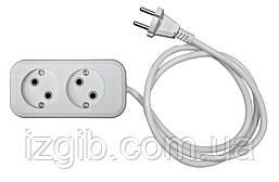 Удлинитель электрический АБС, б/з, 2,2 кВт (10А), 0,75мм 2 гнезда, 3 м