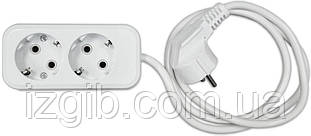 Удлинитель электрический АБС, с/з, 2,2 кВт (10А), 0,75мм 2 гнезда, 3 м