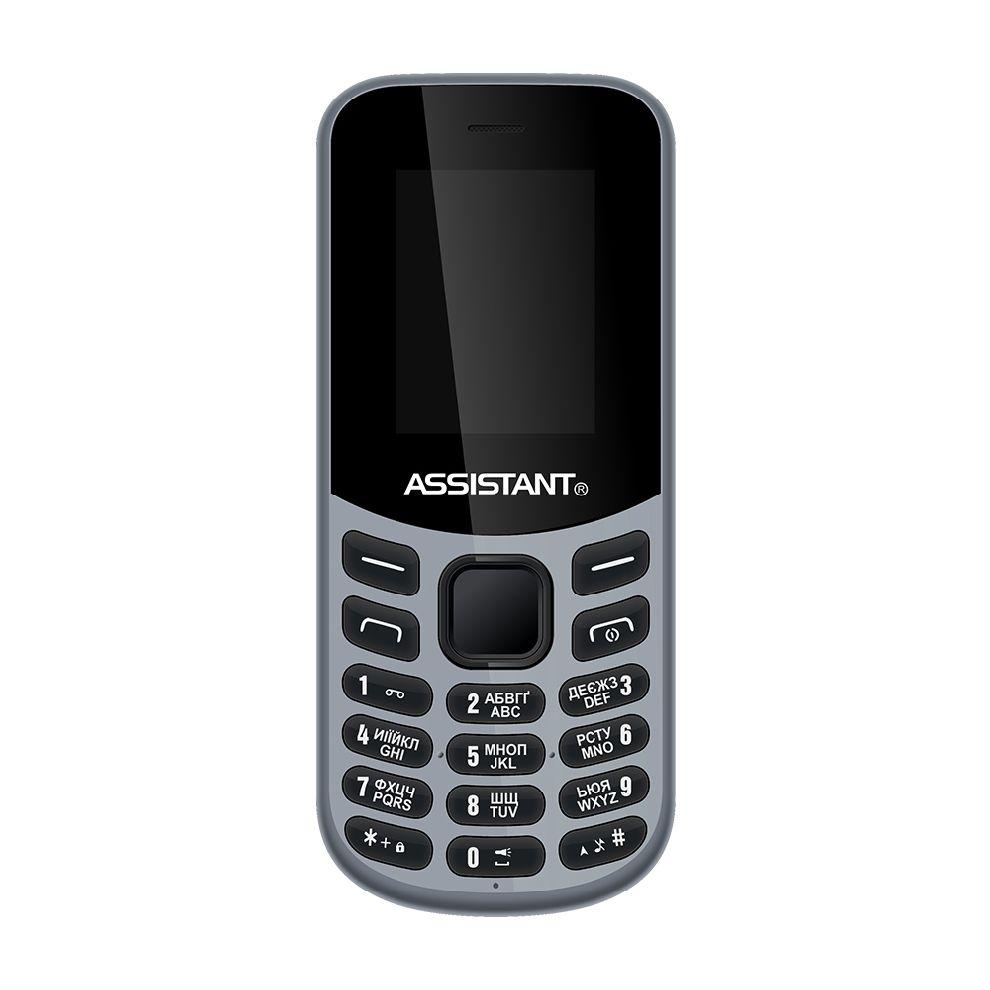 Громкий кнопочный телефон мобильный на 2 сим карты с фонариком Assistant AS-101 серый