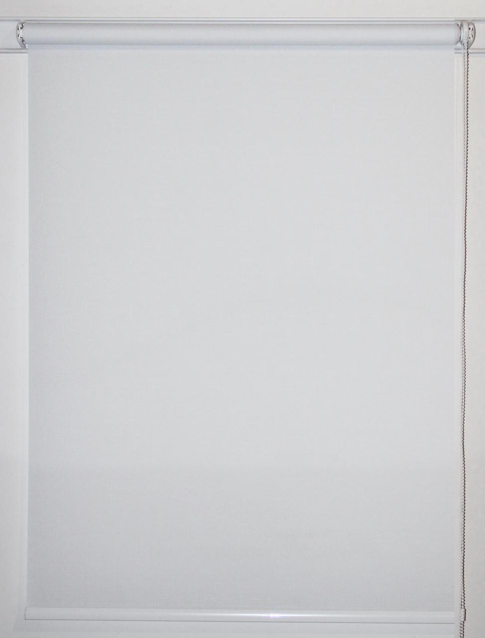 Готовые рулонные шторы 375*1500 Ткань Лён 800 Белый