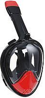 Полнолицевая панорамная маска для плавания Amenitee (L/XL) M2098G с креплением для камеры Black/Red + чехол