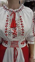 """Классическое вышитое платье """"Лёнок"""" с мережками + шифоновая юбка с вышитым поясом"""