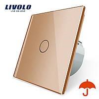 Сенсорный выключатель Livolo для улицы с защитой от брызг IP44 золотой стекло (VL-C701IP-13)