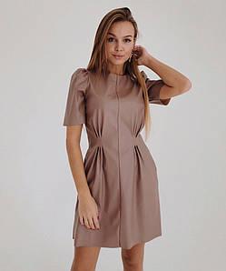 Стильное кожаное платье с карманами