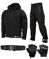 Тактический набор 4 в 1 (куртка + штаны + ремень + беспалые перчатки) Soft Shell (Black) XXL