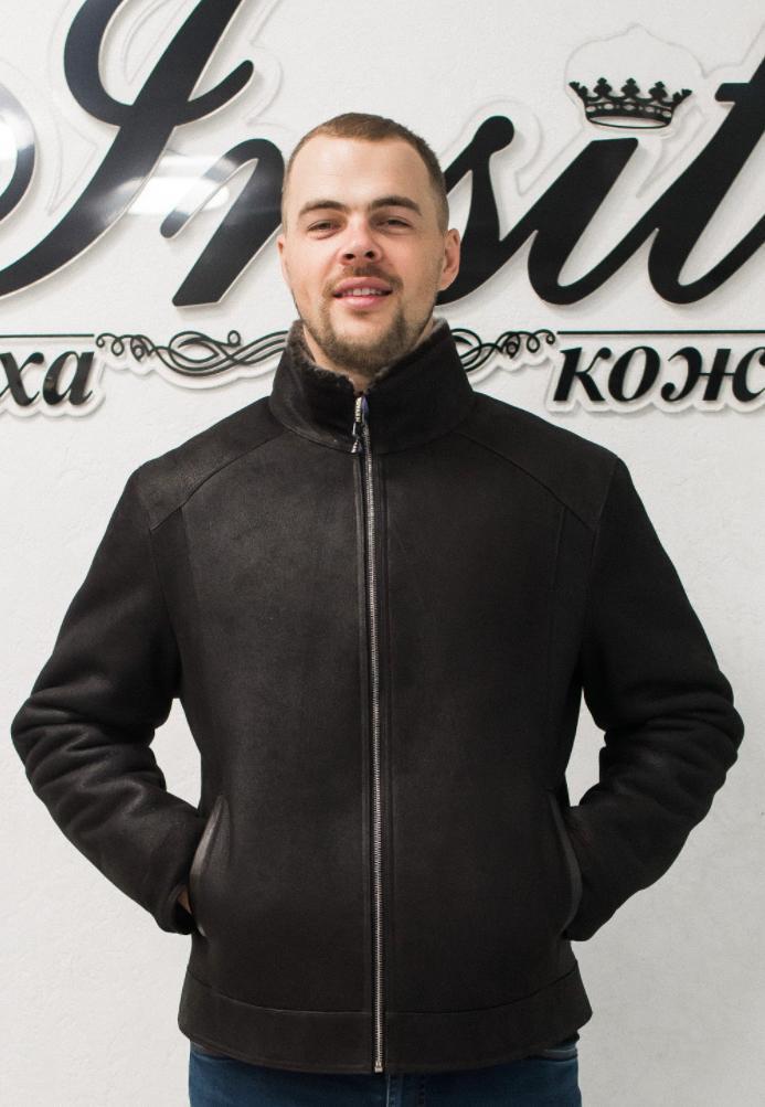 Зима Мужская Дубленка Пропитка Шоколад 005НМ