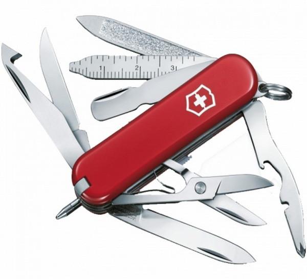 Нож складной, мультитул Victorinox Minichamp (58мм, 15 функций), красный 0.6385
