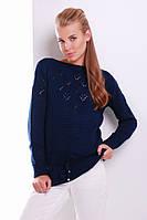 Женский свитер красивой вязки с пояском теплый темно-синего цвета размер 44-50
