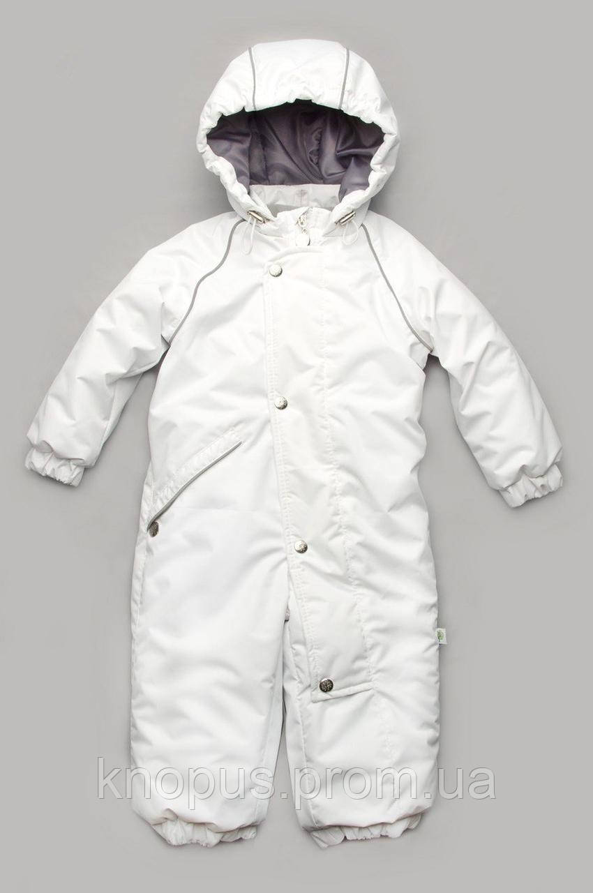 Детский зимний комбинезон, белый, Модный карапуз, Размеры 80-92