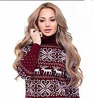 Теплый свитер с оленем бордовый Турция