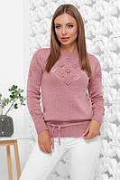 Женский свитер красивой вязки с пояском теплый розового цвета размер 44-50