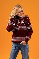 Новогодний свитер с лосем и оленями Бордовый2