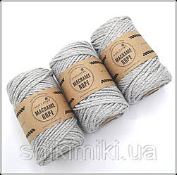 Эко шнур Macrame Rope 4mm, цвет серый меланж