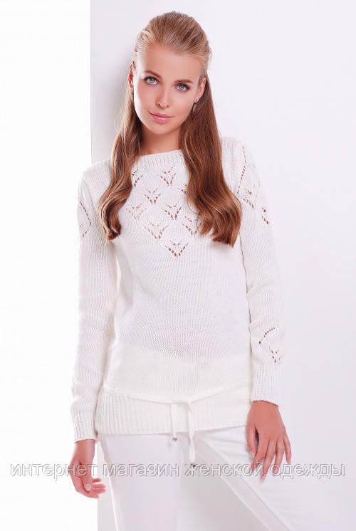 Женский свитер красивой вязки с пояском теплый молочного цвета размер 44-50