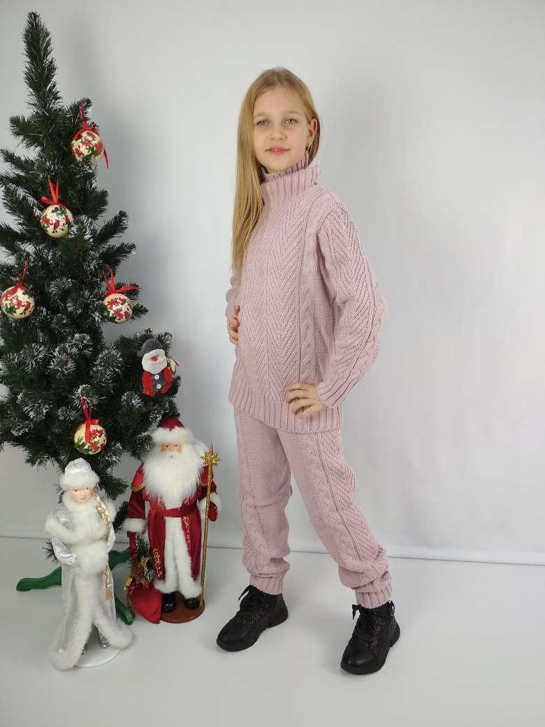 Вязаный свитер и гамаши пудрового цвета для девочки 116-152 р