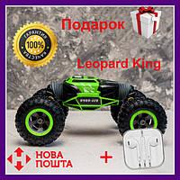 Машинка на радиоуправлении трансформер Leopard King вездеход (перевёртыш), (зеленая) Детская машина Трюковая