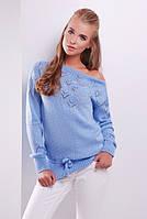 Женский свитер красивой вязки с пояском теплый голубого цвета размер 44-50