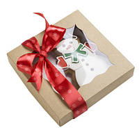 Коробка для пряников 15*15*3 см крафт с волнистым окошком