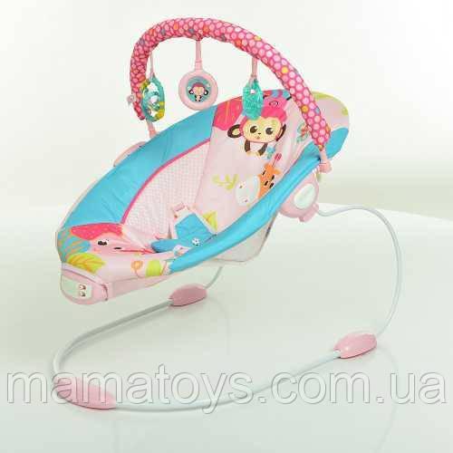 Детский Шезлонг Качалка 6316 Mastela Розовый Музыка, вибро, 2 положения люльки, дуга с подвесками