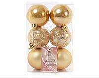 Набор елочных шаров Bonita Золото перламутр 6 см, 6 шт (147-043)