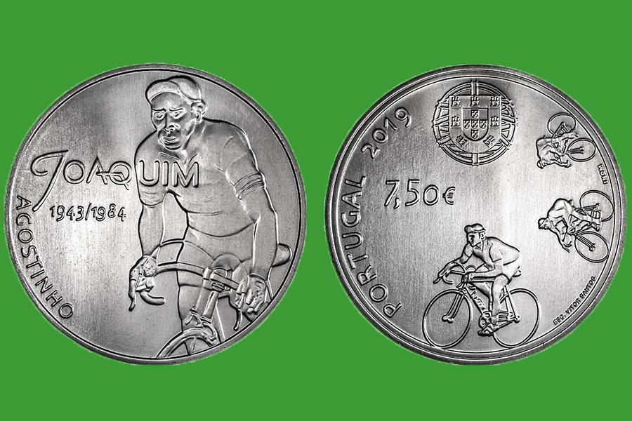 Португалия 7,5 евро 2019 г. Идолы Спорта - Жоаким Агостиньо .UNC