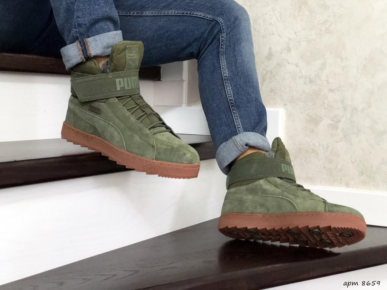 Чоловічі зимові кросівки Puma (темно-зелені)