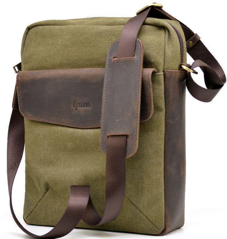Наплічна шкіряна сумка Tarwa хакі