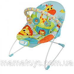 Детский Шезлонг качалка 6875 - 6876 Mastela музыка, вибрация, игрушки, 3- х точечный ремень, желто зеленый