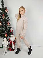 Вязаный бежевый свитер и гамаши на девочку 116-152 р