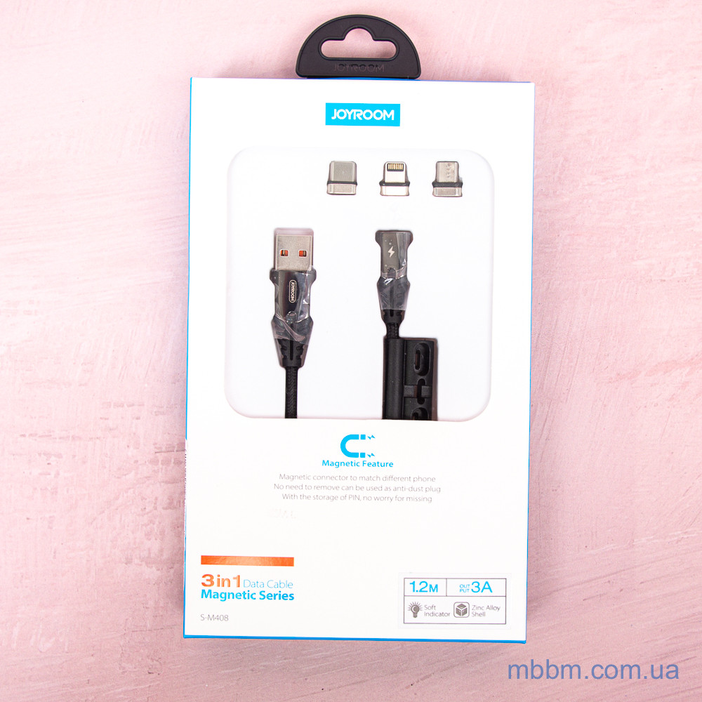 Кабели Lightning Joyroom Magnetic Type-C S-M408 3A 1.2m Black