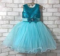 """Детское нарядное платье для девочки """"Пайетки-бантик"""" 3-4 года, бирюзового цвета"""