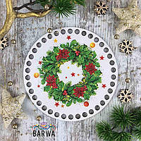 Круглое цветное дно новогодний венок 15 см