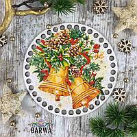 Круглое цветное дно новогодние колокольчики, 15 см