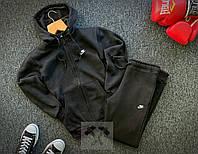 Теплый спортивный костюм Nike на молнии с капюшоном черного цвета