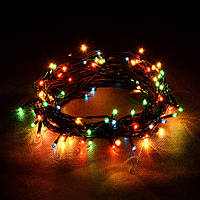 Гирлянда Нить электрическая 60 лампочек Разноцветный, 280 см, черный провод (1-1)