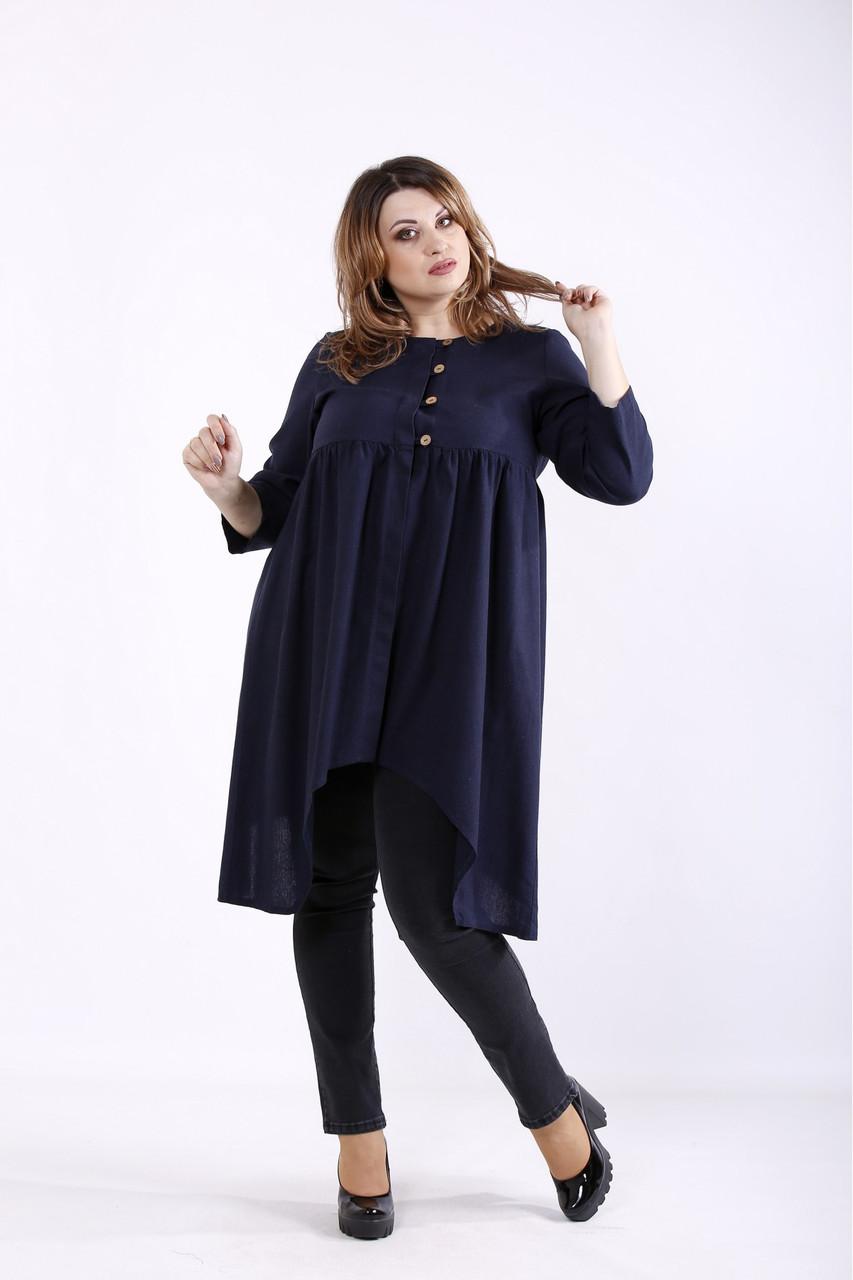 01297-2 | Синяя льняная блузка большого размера