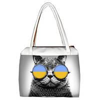 Женская сумка белая Кот Патриот