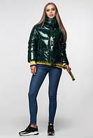 Уникальная модная женская зимняя куртка - рюкзак с поясом, лаковая оверсайз 42, Изумруд