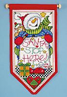 "Набор для вышивания крестом ""Santa Stop Here//Санта тут"" Design Works dw5488"