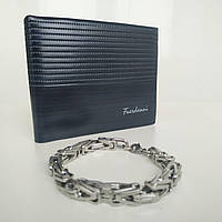 Подарочный набор №8. Мужской портмоне (кошелек) Fuerdanni + мужской браслет Steel Stainless