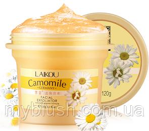 Пилинг гель скатка Laikou Camomile натуральная и органическая формула с экстрактом ромашки 120 g