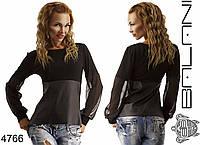 Женский свитшот с шифоновыми рукавами и кожей