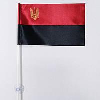 Флажок (прапорець) ОУН-УПА в машину с присоской , атлас  , 12х18 см., фото 1