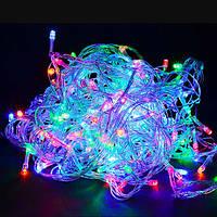 Гирлянда Нить светодиодная  LED 60 лампочек Разноцветный, 400 см, прозрачный провод (1-10)