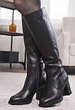Сапоги женские на устойчивом каблуке из натуральной кожи от производителя модель НИ6011-3, фото 3