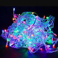 Гирлянда Нить светодиодная  LED 600 лампочек Разноцветный, 2500 см, прозрачный провод (1-26)