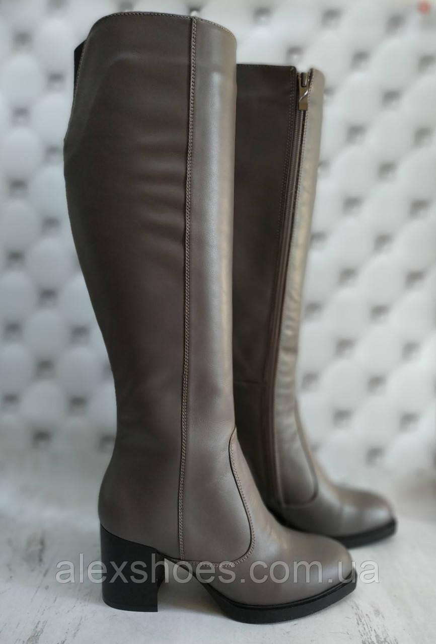 Сапоги женские на устойчивом каблуке из натуральной кожи от производителя модель НИ6011-3